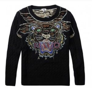 Kenzo. Tiger face cable knit jumper. Black. XS.